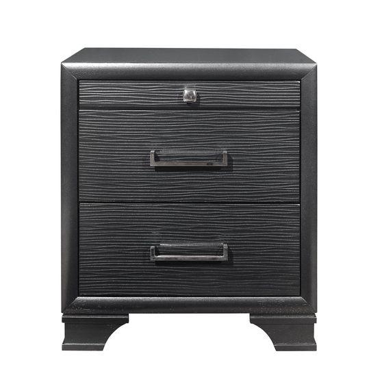 Rubberwood gray 3-drawer night stand