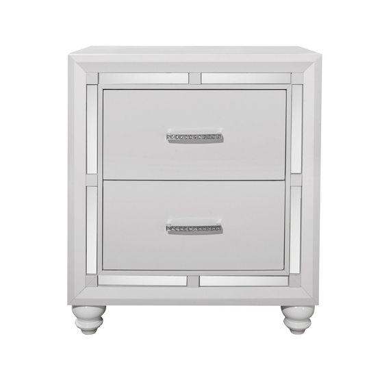 High-gloss white w/ mirrored inserts night stand