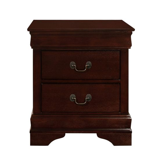 SImple casual style night stand in merlot finish
