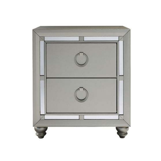 Gray/mirrored casual style night stand