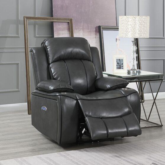 Gray / black stylish power recliner chair
