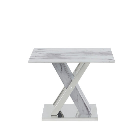 Marble inspired end table w x-crossed base