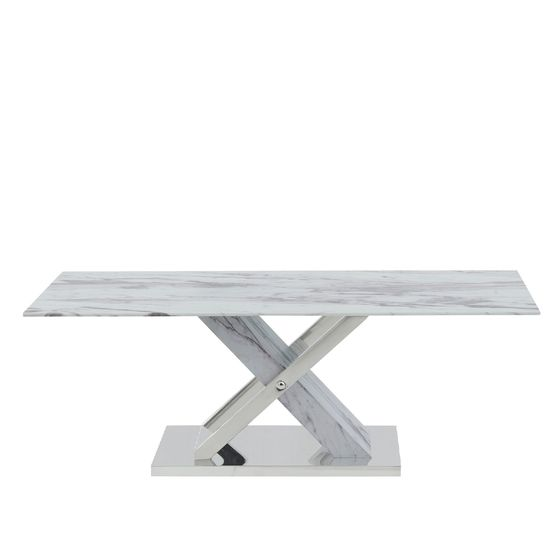 Marble inspired coffee table w x-crossed base