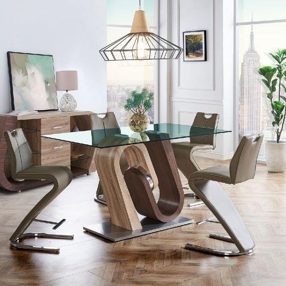 Oak / walnut base bar table w/ glass top