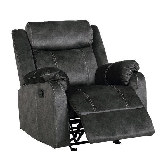 Gray granite microfiber glider recliner