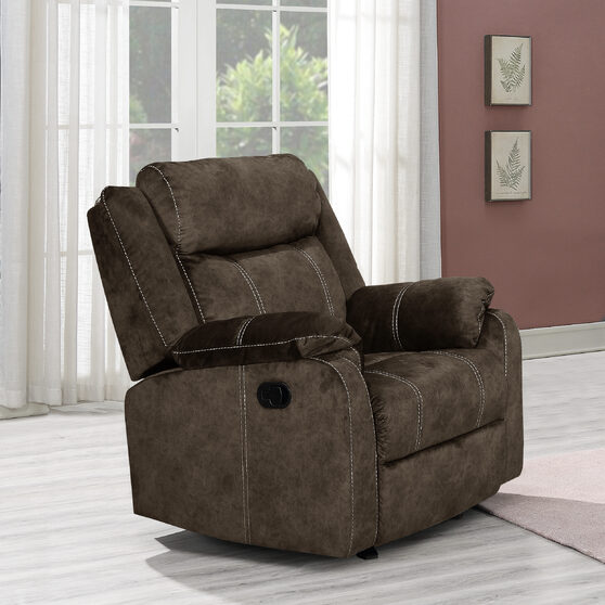 Domino coffee printed microfiber reclining chair