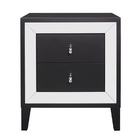 Mirror accents / black night stand