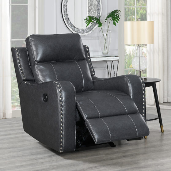 Dark charcoal gray stylish recliner chair