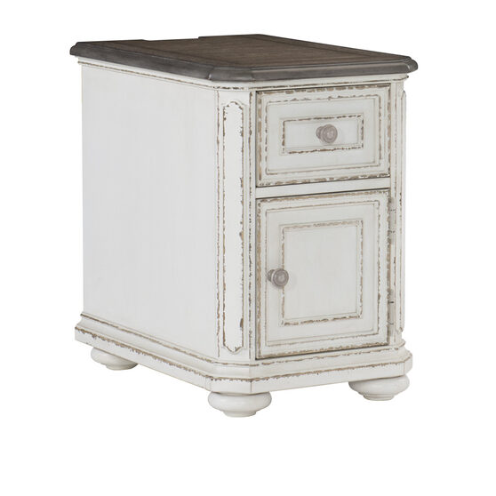 Antique white and oak chairside table