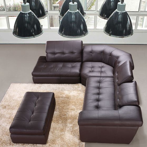 Italian chocolate leather tufted sectional sofa