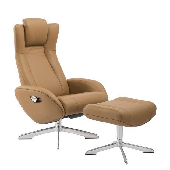 Recliner leisure lounger chair + ottoman set in camel