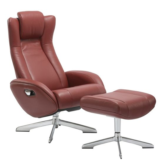 Recliner leisure lounger chair + ottoman set in red