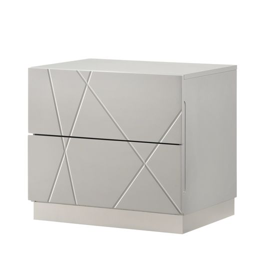 Contemporary high-gloss night stand in light gray