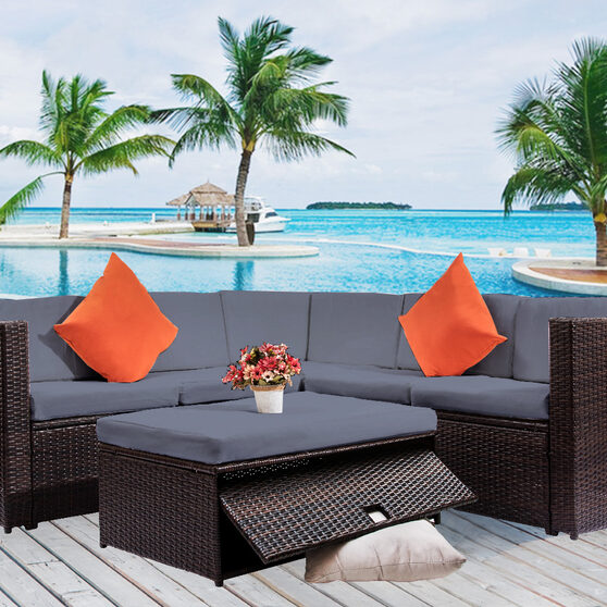 Gray cushioned outdoor patio rattan furniture sectional 4 piece set