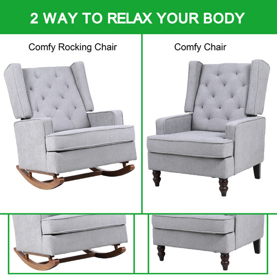 Comfortable rocking chair accent chair with light gray fabric