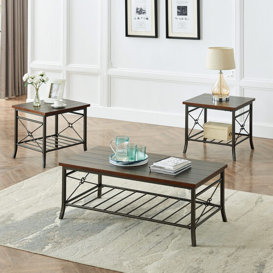 Cocktail table set of 3pk for living room, 3-piece occasional table set 1 cocktail and 2 end table sets
