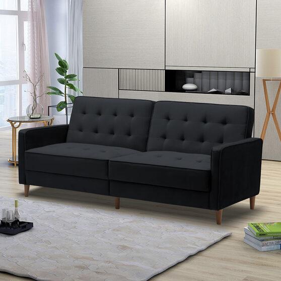 Square arms modern black velvet upholstered sofa bed
