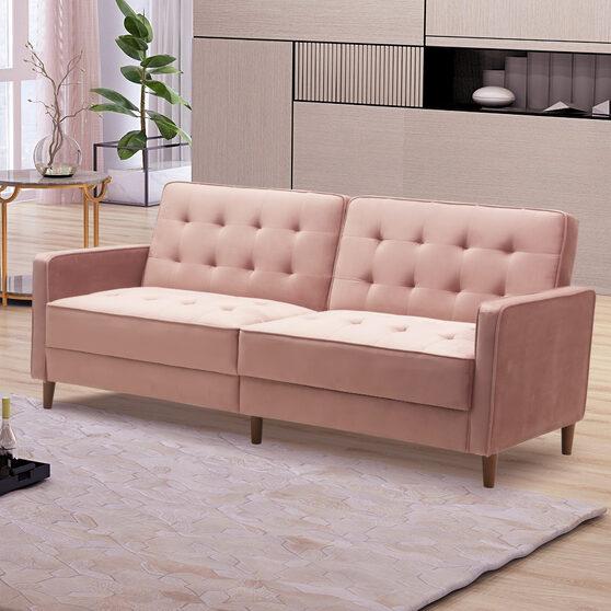 Square arms modern pink velvet upholstered sofa bed