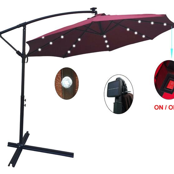 Burgundy 10 ft outdoor patio umbrella solar powered led lighted sun shade market waterproof 8 ribs umbrella