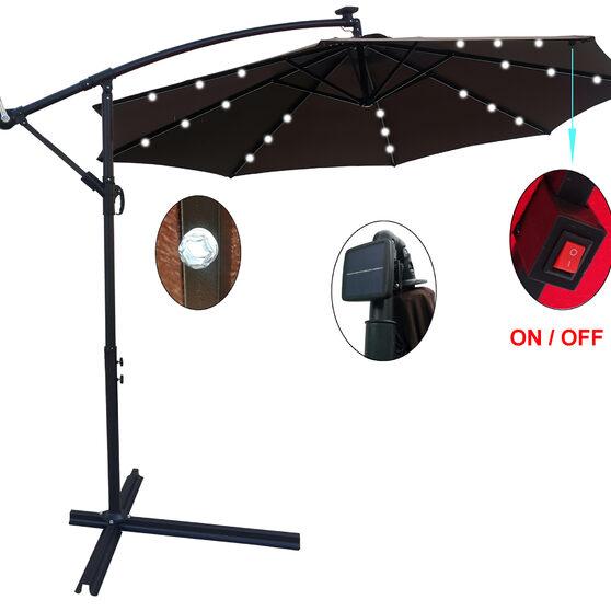 Chocolate 10 ft outdoor patio umbrella solar powered led lighted sun shade market waterproof 8 ribs umbrella