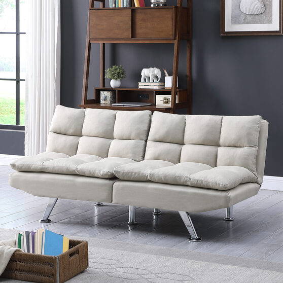 Beige fabric relax futon sofa bed with metal chrome legs