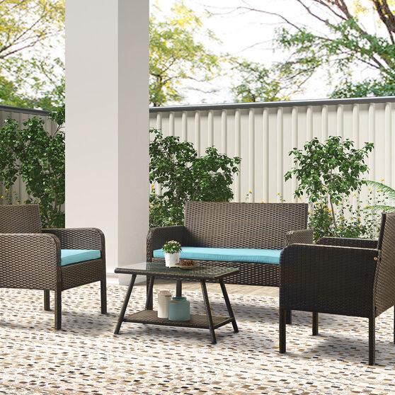 U-style 4 piece rattan sofa seating group with cushions