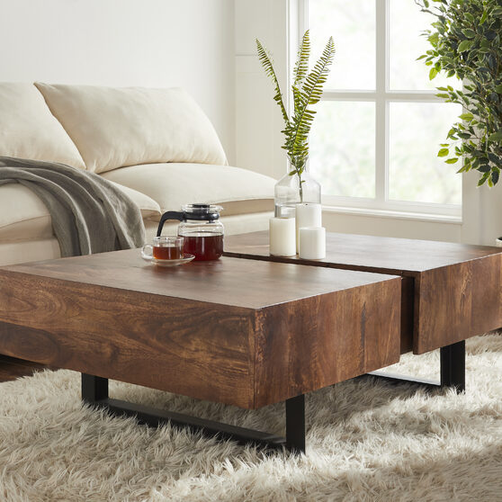 Walnut glide coffee table with sliding top