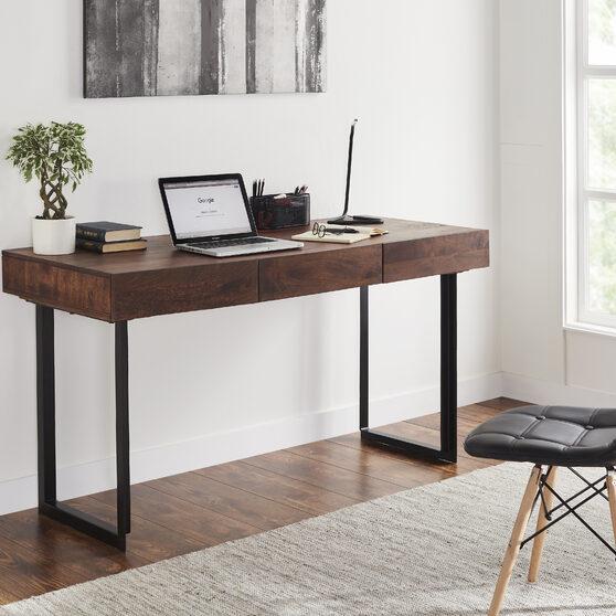 Modern office computer desk in walnut/gray