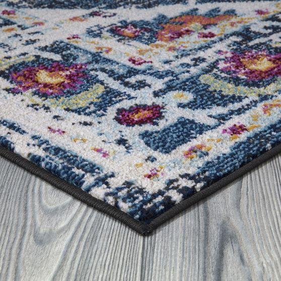 Jewel 5'2 X 7'2 Transitional & Contemporary  Medallion & Distressed Navy Blue area rug