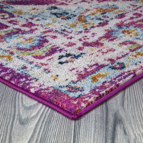 Jewel 5'2 X 7'2 ransitional & Contemporary Medallion & Distressed Purple area rug