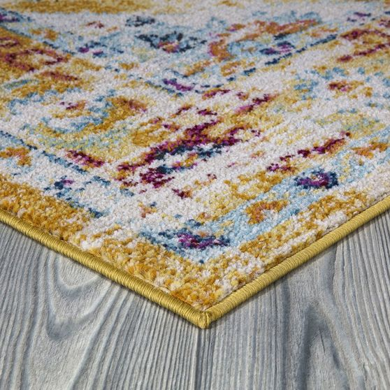 Jewel 5'2 X 7'2 Transitional & Contemporary Medallion & Distressed Yellow area rug
