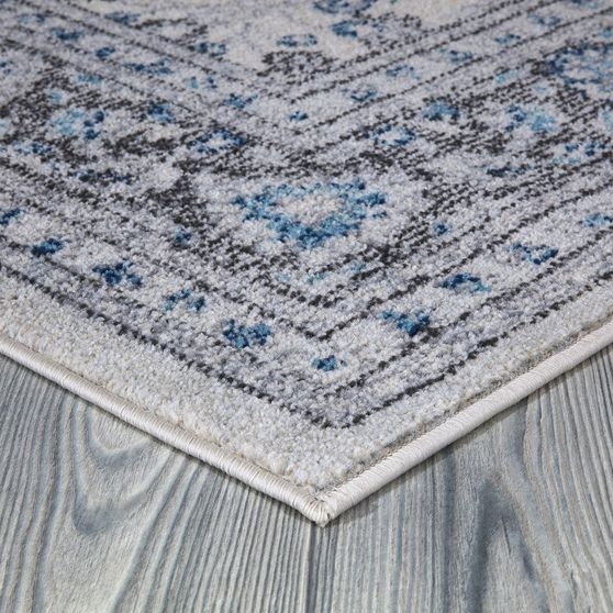 Jewel 5'2 X 7'2 Transitional & Contemporary Floral, Bordered Ivory area rug