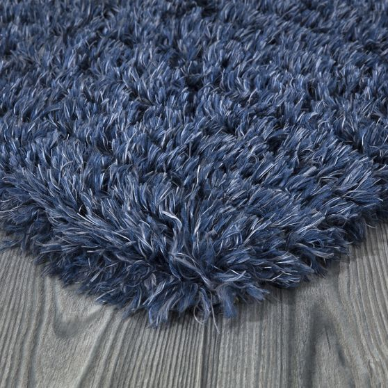 Silky Shag 5'2 x 7'2 Modern & Contemporary Solid Blue area rug