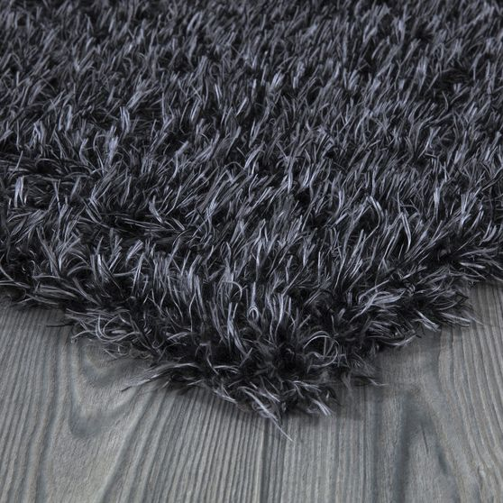 Silky Shag 5'2 x 7'2 Modern & Contemporary Solid Charcoal area rug