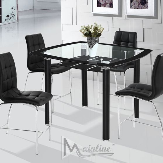 Modern 5pcs black glass designer counter set
