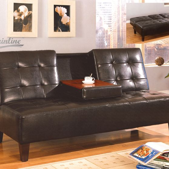 Casual chocolate sofa bed w/ solid wood legs