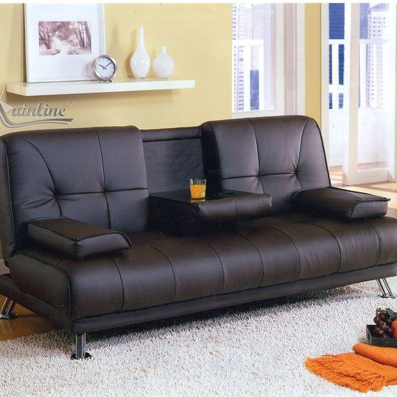 Chrome steel legs black sleeper sofa
