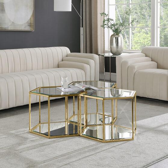 Glam style modular coffee table set in hexagon shape