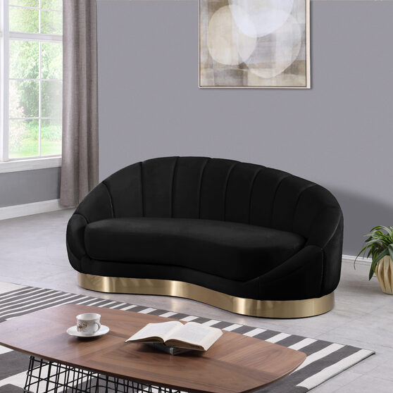 Curved elegant velvet contemporary chaise