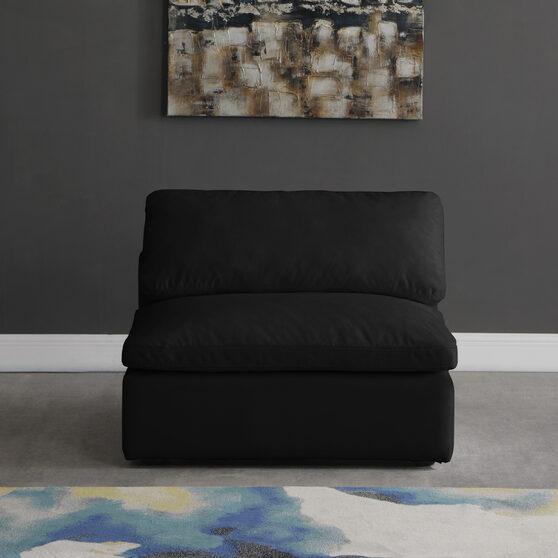 Modular armless chair in black velvet