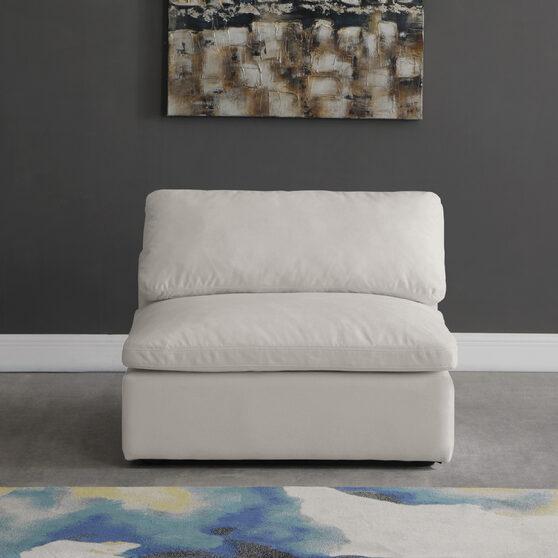 Modular velvet fabric armless chair