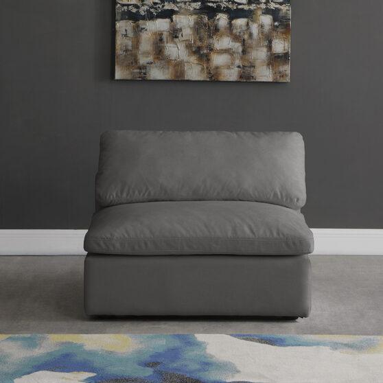 Modular armless chair in gray velvet