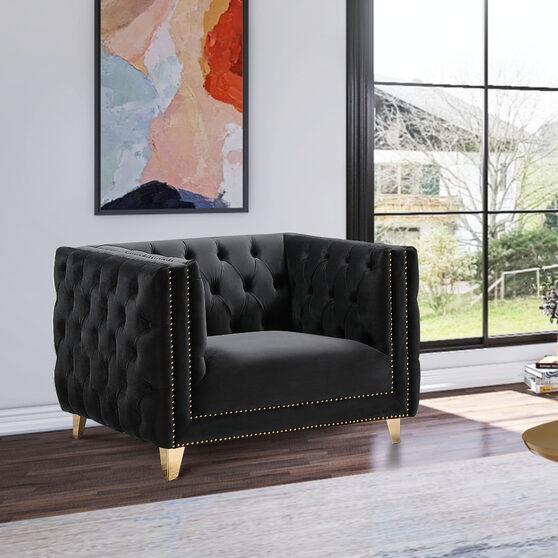Black velvet / gold nailheads stylish chair