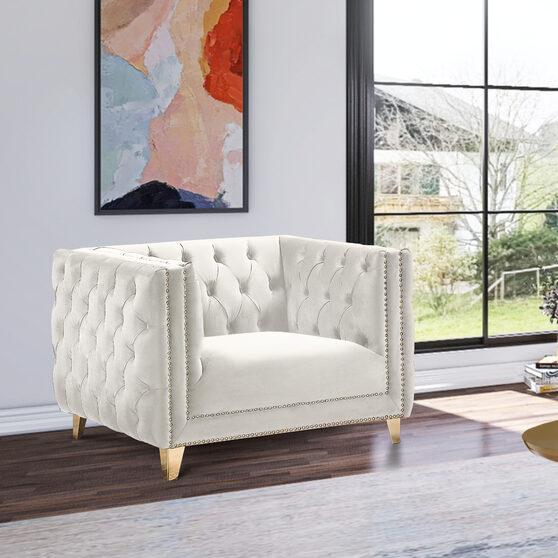 Cream velvet / gold nailheads stylish chair
