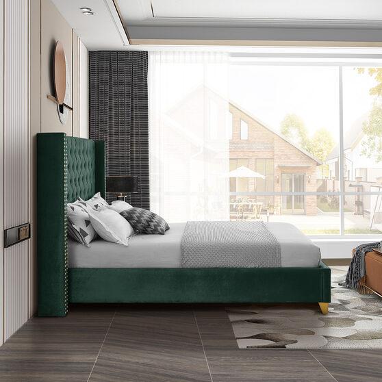Modern gold legs / nailheads green velvet full bed