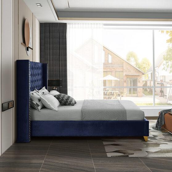 Modern gold legs / nailheads navy velvet full bed