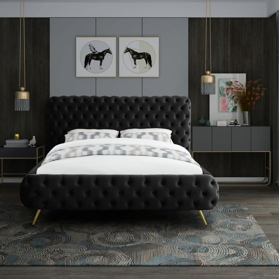 Black tufted uplholstered contemporary king bed