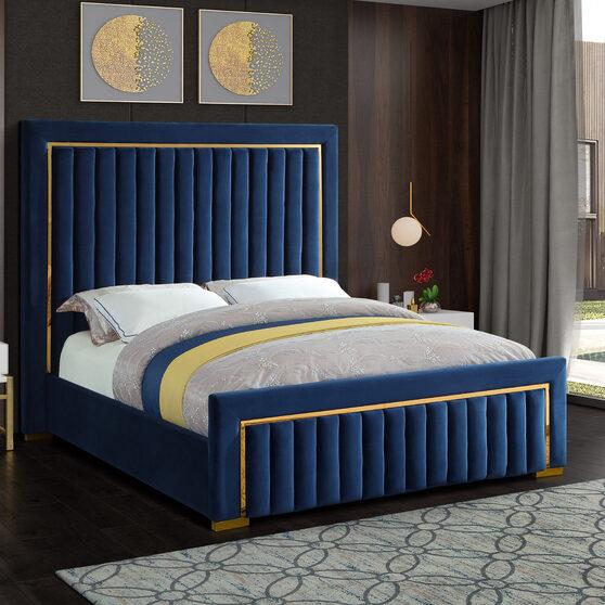 Gold trim high headboard velvet upholstery bed