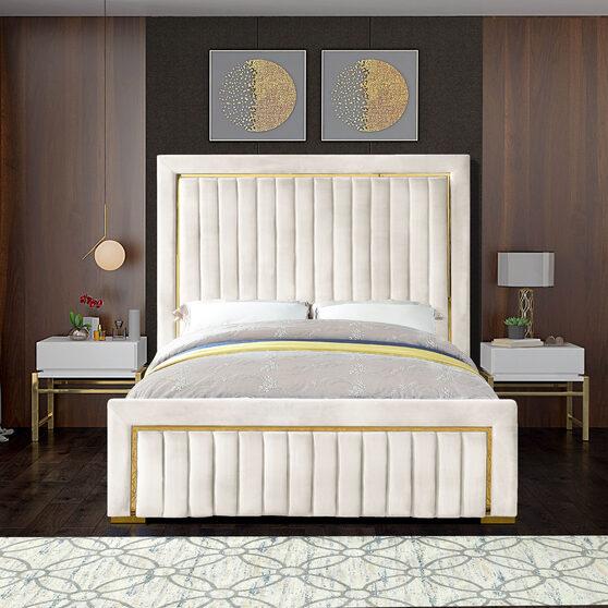 Gold trim high headboard velvet upholstery king bed