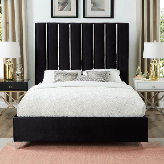 Black velvet bed w/ vertical slice style headboard